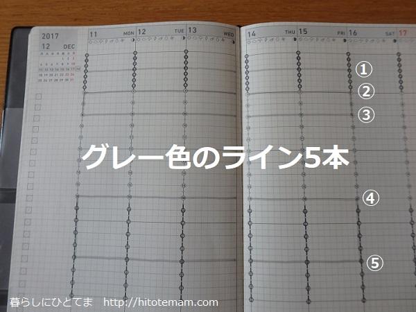 自分手帳記入例グレー線