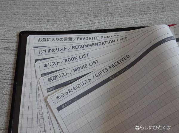 ジブン手帳のリストページ
